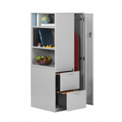Wardrobe Storage Tower with Bookcase and Coat Closet