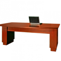 """AE2402 - Wood Veneer - Executive Bow Front - Electric DESK. """"Sit to Stand"""" Technology."""